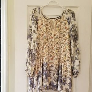 Free People Long Sleeved Floral Mini Dress